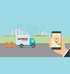 express delivery concept checking delivery vector image