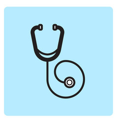 Flat color stethoscope icon vector