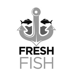 Fresh fish colorless logo with anchor and sea vector