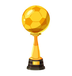 Golden soccer trophy cup icon cartoon style vector