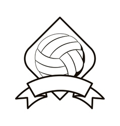 Gray scale volleyball tournament emblem with ball vector