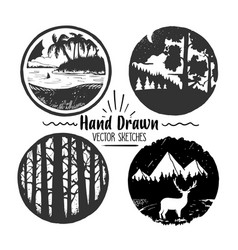 hand drawn logo set trendy collection of outdoor vector image