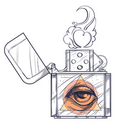Hand drawn vintage zippo with all-seeing eye vector