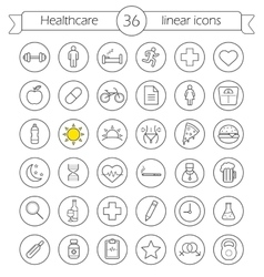 Healthcare linear icons set vector