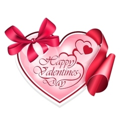 Heart shape frame with ribbon vector image