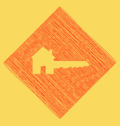 home key sign red scribble icon obtained vector image vector image