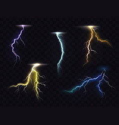 lightning flash glowing light effects set vector image