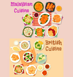 Malaysian and british cuisine lunch menu icon set vector