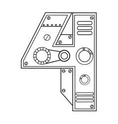 Mechanical number 4 engraving vector