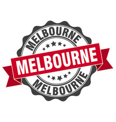 Melbourne round ribbon seal vector