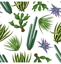 Seamless pattern with cactuses and succulents set vector