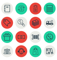 set of 16 commerce icons includes delivery vector image