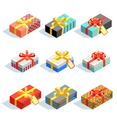 set of colored 3d giftboxes with ribbons isolated vector image vector image