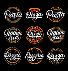 set of pizza pasta pizzeria and italian food vector image vector image