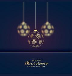 stylish hanging golden christmas balls premium vector image vector image