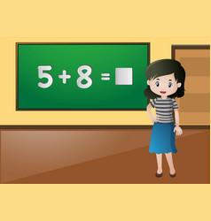 Teacher teaching math in classroom vector