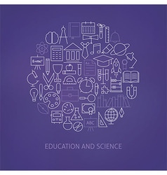 Thin Line Education Science School Icons Set vector image vector image