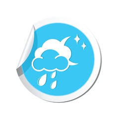 Weather forecast clouds moon and raindrops icon vector
