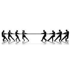 women versus men business tug of war competition vector image vector image