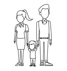 Young family cartoon vector