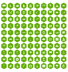 100 asian icons hexagon green vector