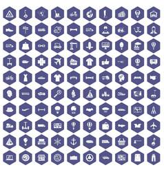 100 logistics icons hexagon purple vector image vector image