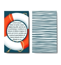 Set of 2 cards templates with sea background vector