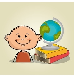 Boy student books global vector