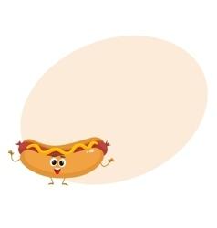 Funny hot dog fast food kids menu character vector image