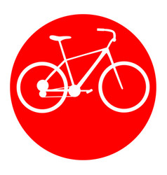 Bicycle bike sign  white icon in red vector