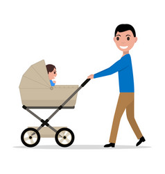 cartoon father riding a child baby carriage vector image