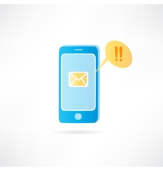 mobile phone with a message on the display vector image