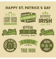 Saint patricks day vintage green design elements vector