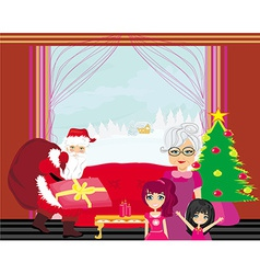 Grandmother with granddaughters waiting for santa vector