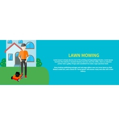 Man moves with lawnmower vector