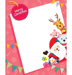 Christmas Card With Santa Claus And Animals vector image