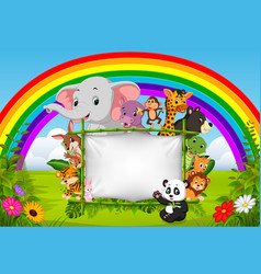 Animal standing on a bamboo frame with rainbow vector