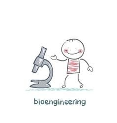 bioengineer looking through a microscope vector image vector image