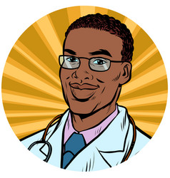 Black male doctor african american pop art avatar vector