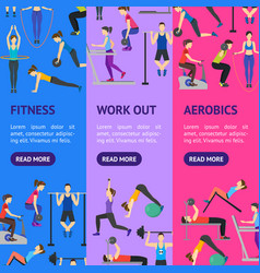 cartoon people workout exercise in gym banner vector image