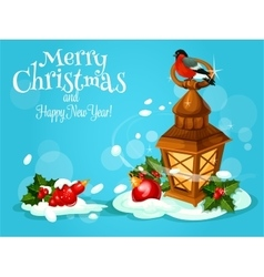 Christmas lantern with holly berry and bauble card vector