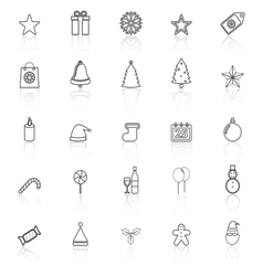 Christmas line icons with reflect on white vector