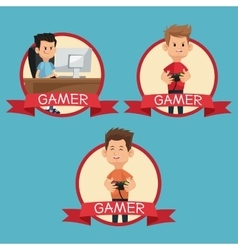 Collection gamers devices playing banner blue vector