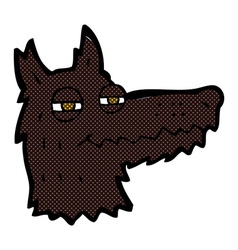 Comic cartoon smug wolf face vector