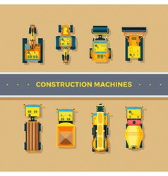 Construction Machines Top View vector image vector image