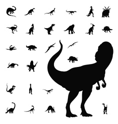 dinosaur silhouette collection vector image