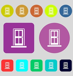 Door icon sign 12 colored buttons Flat design vector image vector image