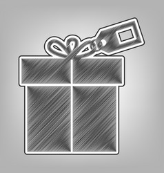 Gift sign with tag pencil sketch vector