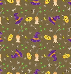Halloween seamless with traditional symbols icons vector image