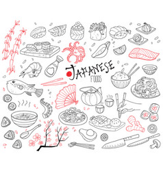 hand drawn japanese cuisine elements set vector image vector image